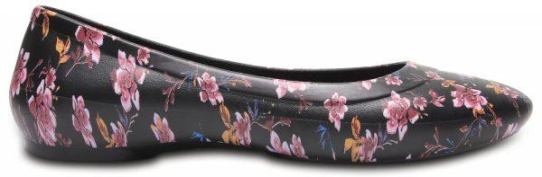 Crocs Flat Mujer Negros / Floral Crocs Lina Graphic