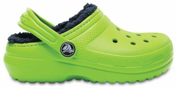 Crocs Clog Unisex Volt Verdes / Azul Navy Classic Fuzz Lined