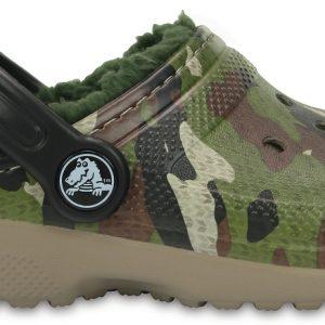 Crocs Clog Unisex Verdes Camuflaje Classic Fuzz Lined Graphic