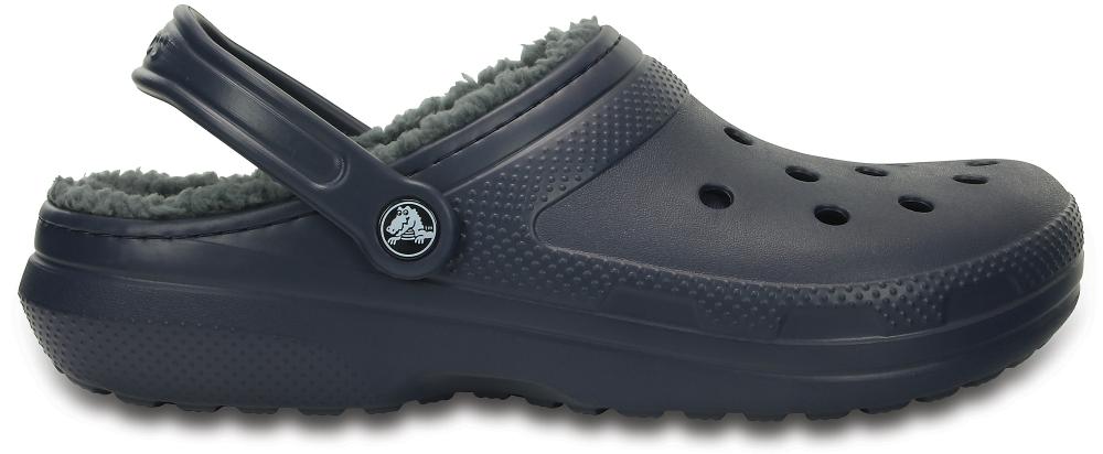 Crocs Clog Unisex Azul Navy / Charcoal Classic Fuzz Lined