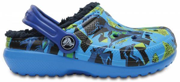 Crocs Clog Unisex Ocean / Azul Navy Classic Fuzz Lined Graphic