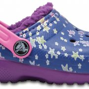 Crocs Clog Unisex Blue Jean/Amethyst Classic Fuzz Lined Graphic