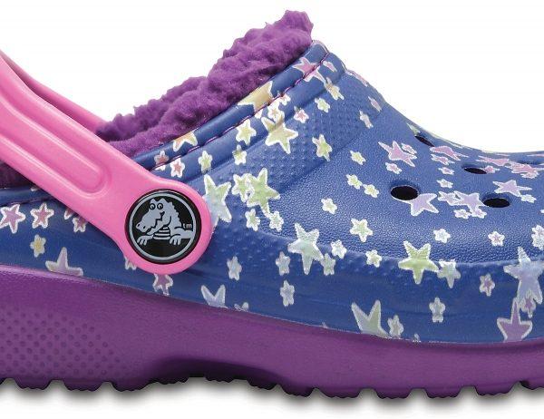 Crocs Clog Unisex Blue Jean/Amethyst Classic Fuzz Lined Graphic