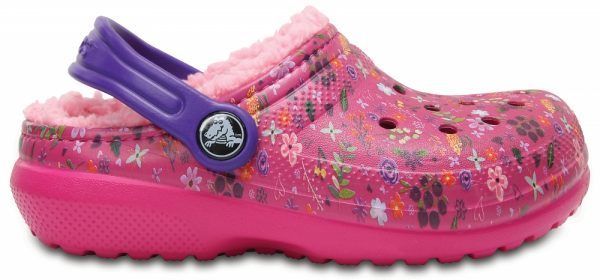 Crocs Clog Unisex Candy Rosa/Peony Classic Fuzz Lined Graphic