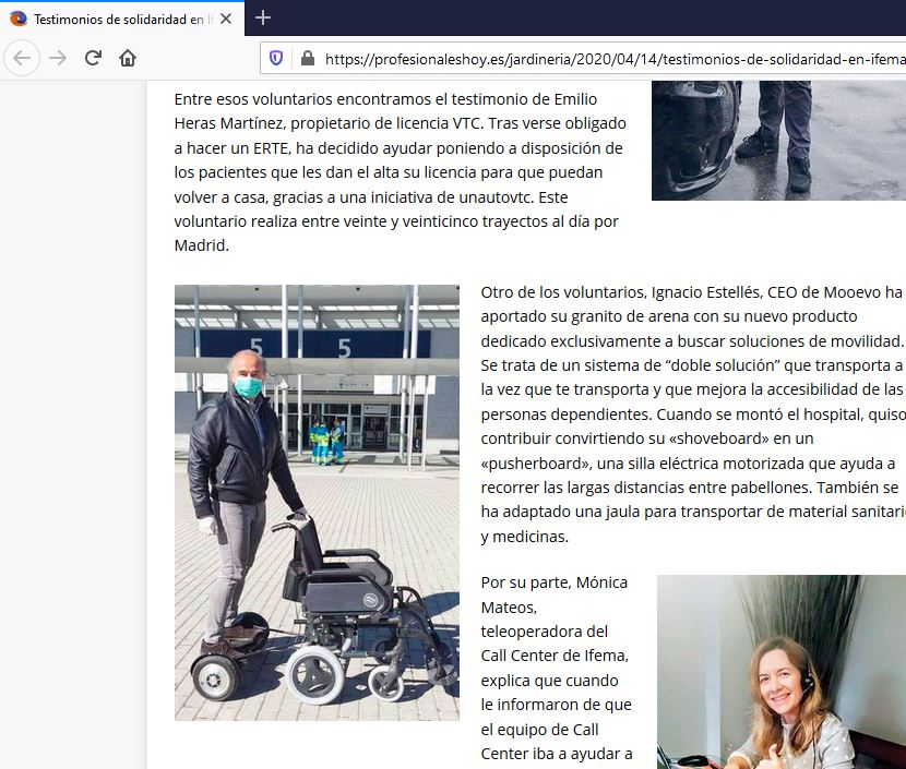 silla de ruedas electrica IFEMA Madrid España ayuda pacientes covid-19 coronavirus